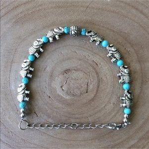 Elephant Charm & Aqua Bead Boho Bracelet Costume